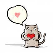 Cartoon cat with love heart — Stock Vector