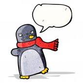 Bufanda usando dibujos animados pingüino — Vector de stock