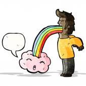 Man vomiting out rainbow cartoon — Stock Vector