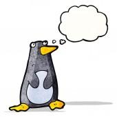 Grappige pinguïn met gedachte bubble — Stockvector