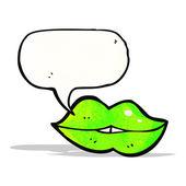 Cartoon talking green halloween lips — ストックベクタ