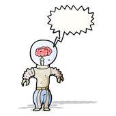 Cartoon futuristic robot with brain — Stock Vector