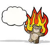Burning teddy bear cartoon — Stock Vector