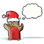 Cartoon robin wearing christmas hat — Stockvector