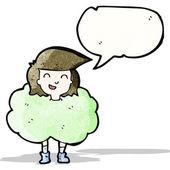 Girl in cloud of green smoke cartoon — Stock Vector