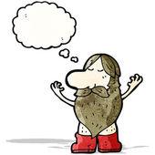 Cartoon hippie man met gedachte zeepbel — Stockvector