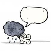 мультфильм облако дует ветер — Cтоковый вектор
