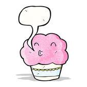 Cartoon cupcake with speech bubble — Stockvector