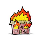 Flaming house cartoon — Stock Vector