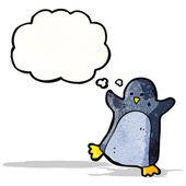 Мультфильм пингвин с мысли пузырь — Cтоковый вектор