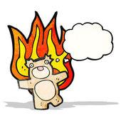 Flaming teddy bear cartoon — Stock Vector