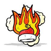 Flaming santa hat cartoon — Stock Vector