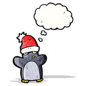 Cartoon funny christmas penguin — Stock Vector