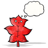 Cartoon leaf with thought bubble — Stock vektor