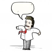 Cartoon businessman shrugging shoulders — Stock Vector