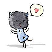 Cute cloud head creature with love heart — Stock Vector