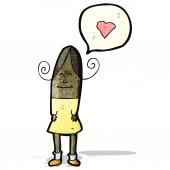 Donna di cartone animato con amore cuore — Vettoriale Stock