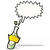Cartoon bottle popping cork — Stock Vector