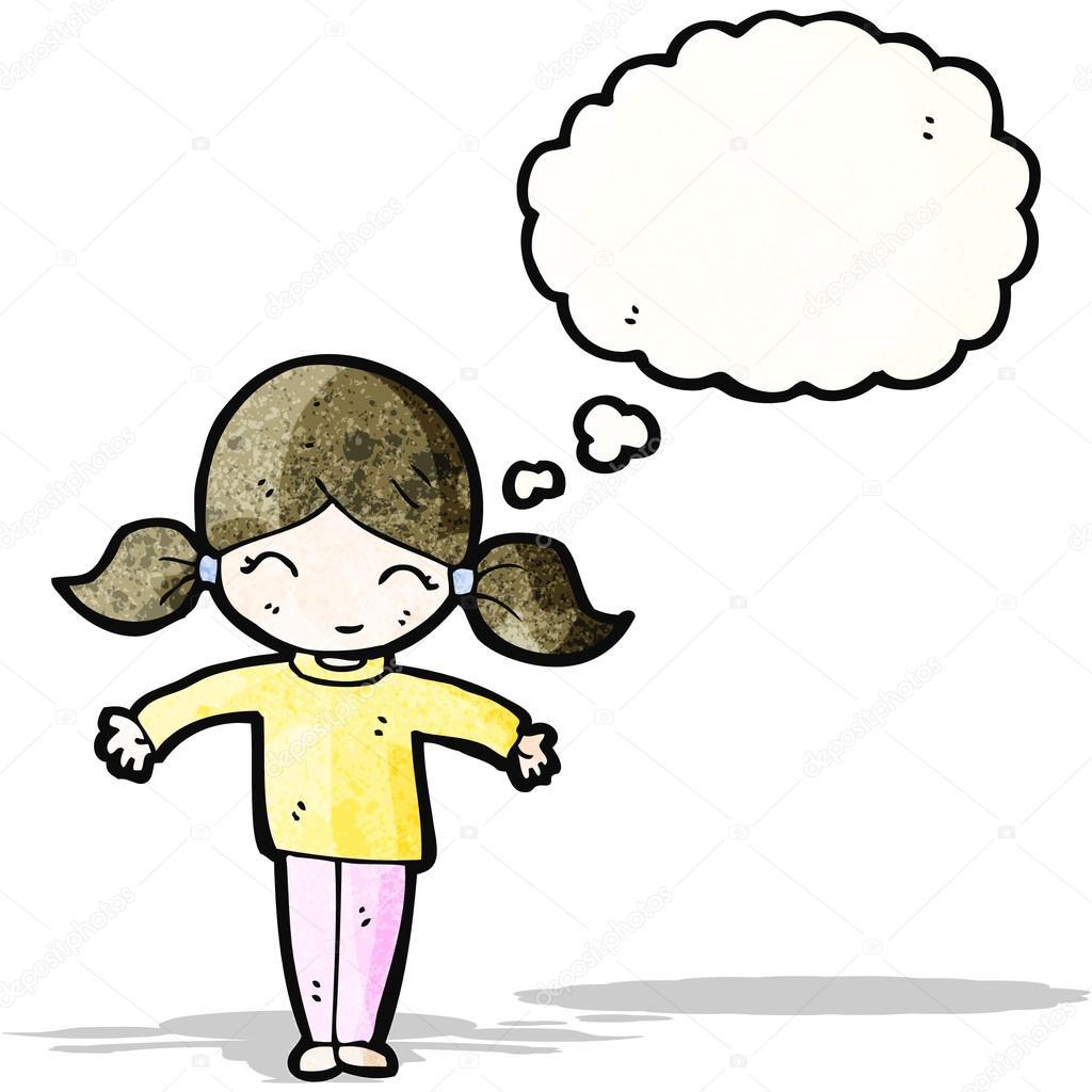 Ragazza cartone animato con trecce e bolle di pensiero