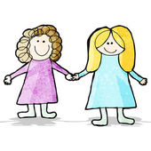 Child's drawing fo two friends holding hands — Stock Vector