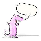Cartoon dinosaur with speech bubble — Stock Vector