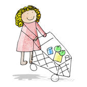 Cartoon mother pushing trolley — Stock Vector