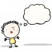 Happy doodle woman cartoon — Stock Vector