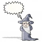 Shouting wizard cartoon — Stock Vector
