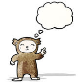 Cartoon little teddy with idea bubble — Stock Vector