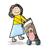 Child's drawing of a mom pushing pram — Stock Vector