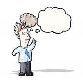 Cartoon businessman with overheated brain — Stock Vector