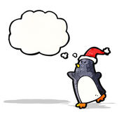 Cartoon christmas penguin with thought bubble — Stock Vector
