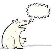 Cartoon polar bear with speech bubble — Stock Vector