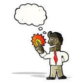 Cartoon man with brilliant idea — Stock Vector