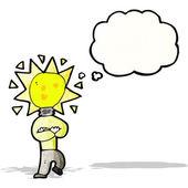 Cartoon light bulb idea man — Stock Vector