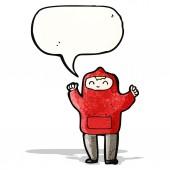 Cartoon boy in hooded sweatshirt — Stock Vector
