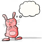 Cute rabbit cartoon with thought bubble — Stock Vector