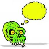 Cartoon glowing green skull — Stock Vector