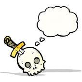 Cartoon skull and dagger — Stock Vector