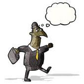 Cartoon affärsman går till jobbet — Stockvektor