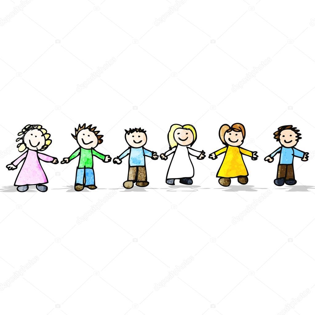 Dessin enfant d 39 amis main dans la main image vectorielle - Dessin main enfant ...