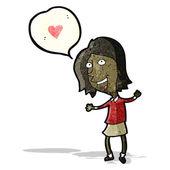 Cartoon woman in love — Stock Vector