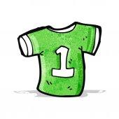 Camisa deportiva de dibujos animados con el número uno — Vector de stock