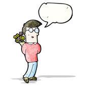 Cartoon man with bunch of flowers — Stock Vector