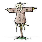 Cartoon scary scarecrow — Stock Vector