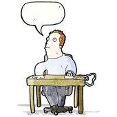 Cartoon man working at desk — Stock Vector
