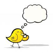 卡通笑鸟与思想泡泡 — 图库矢量图片