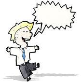 Cartoon laughing schoolboy — Stock Vector