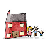 Child's drawing of a family home — Stock Vector