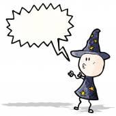Cartoon wizard casting spell — Stock Vector